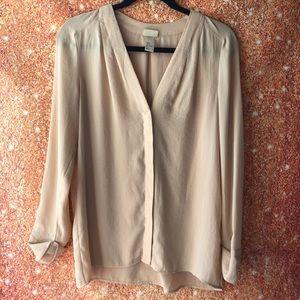 H&M tan vneck women's blouse long sleeve size 2